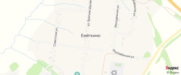 Советская улица на карте деревни Еметкино с номерами домов