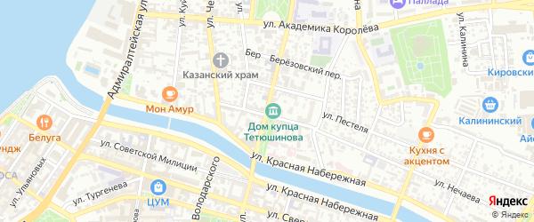 Коммунистическая улица на карте Астрахани с номерами домов