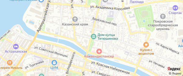 Улица Раскольникова на карте Астрахани с номерами домов