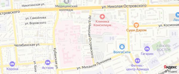 Проезд Н.Островского на карте Астрахани с номерами домов