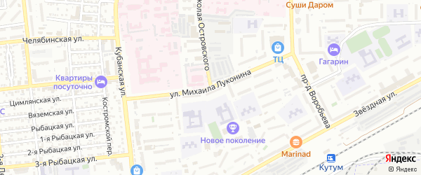 Улица Михаила Луконина на карте Астрахани с номерами домов