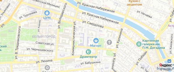Улица Молодой Гвардии на карте Астрахани с номерами домов