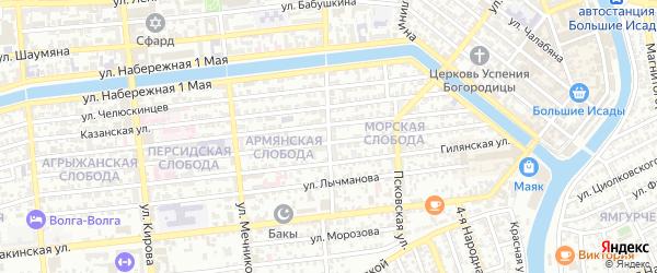 Улица Дарвина на карте Астрахани с номерами домов