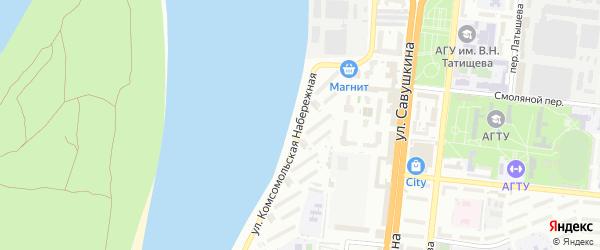 Комсомольская Набережная улица на карте Астрахани с номерами домов