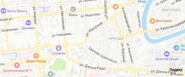 Смоленский переулок на карте Астрахани с номерами домов
