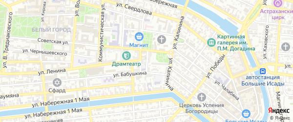 Советский переулок на карте Астрахани с номерами домов