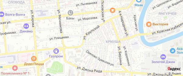 Коломенский переулок на карте Астрахани с номерами домов