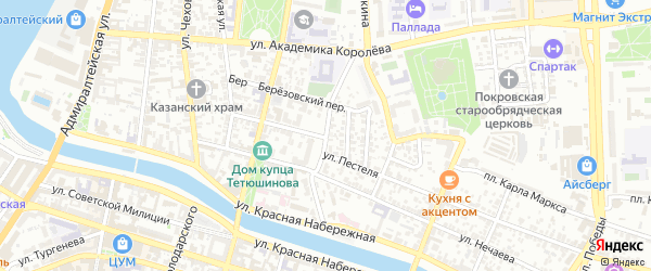Марфинская улица на карте Астрахани с номерами домов