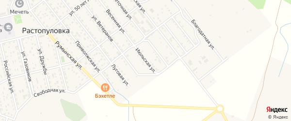 Июльская улица на карте села Растопуловки с номерами домов