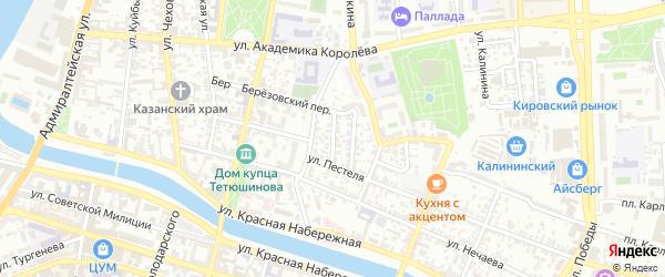Улица Чайковского на карте Астрахани с номерами домов