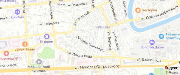 Переулок Артема Сергеева на карте Астрахани с номерами домов