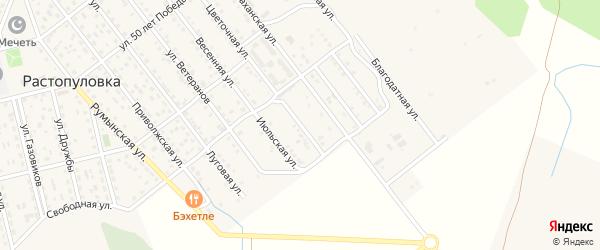 Учительская улица на карте села Растопуловки с номерами домов