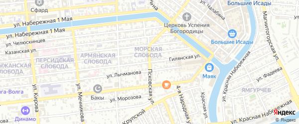 Псковская улица на карте Астрахани с номерами домов