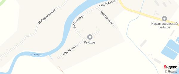 Мостовая улица на карте села Карамышево с номерами домов