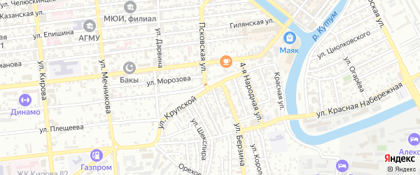 Улица Крупской на карте Астрахани с номерами домов