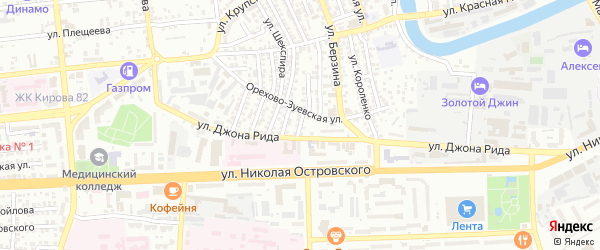 Короткий переулок на карте Астрахани с номерами домов