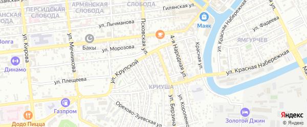 Рабочий переулок на карте Астрахани с номерами домов