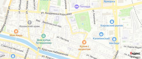 Улица Чугунова на карте Астрахани с номерами домов