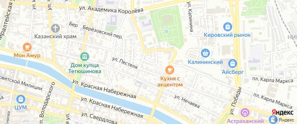 Улица Лазо на карте Астрахани с номерами домов