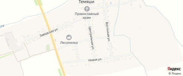 Центральная улица на карте деревни Апанасова-Темяши с номерами домов