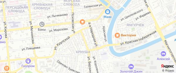 Народная 6-я улица на карте Астрахани с номерами домов