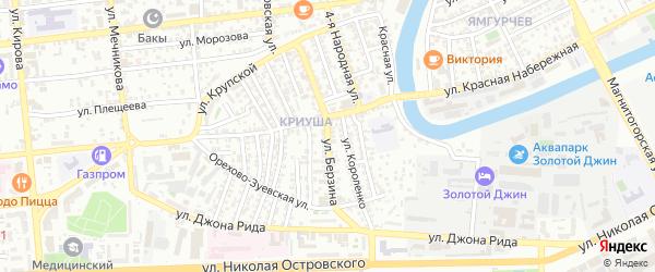 Улица Берзина на карте Астрахани с номерами домов