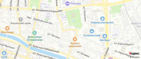 Переулок Иванова на карте Астрахани с номерами домов