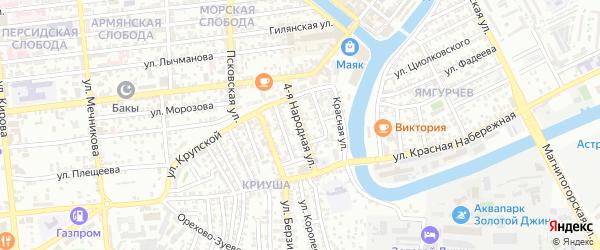Народная 4-я улица на карте Астрахани с номерами домов