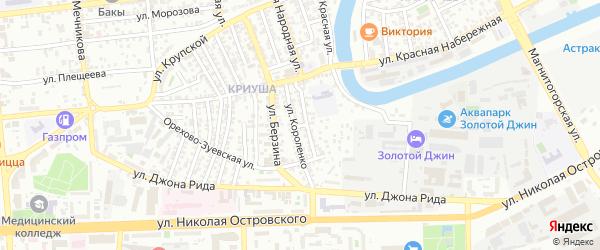 Переулок Мичурина на карте Астрахани с номерами домов