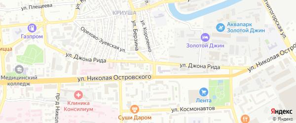Улица Джона Рида на карте Астрахани с номерами домов
