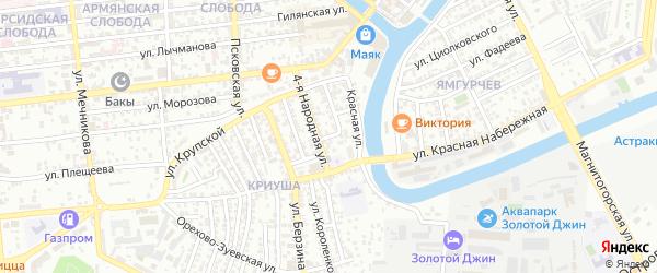 Народная 3-я улица на карте Астрахани с номерами домов
