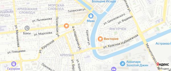 Тюльпановая 1-я улица на карте Астрахани с номерами домов