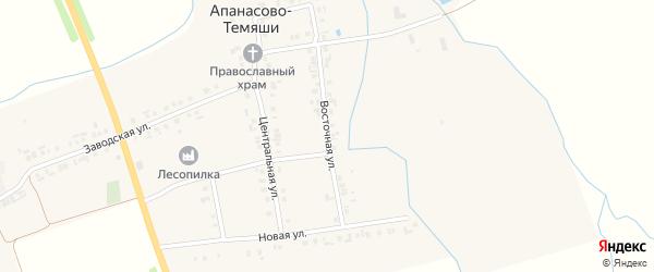 Восточная улица на карте деревни Апанасова-Темяши с номерами домов