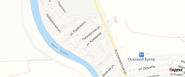 Улица Комарова на карте села Осыпного Бугра с номерами домов