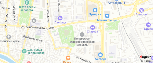 Артистический переулок на карте Астрахани с номерами домов