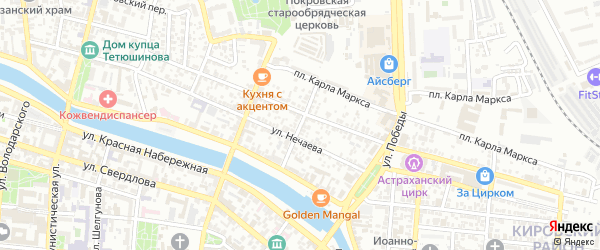 Улица Мельникова на карте Астрахани с номерами домов