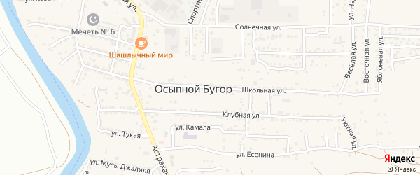 Школьная улица на карте села Осыпного Бугра с номерами домов