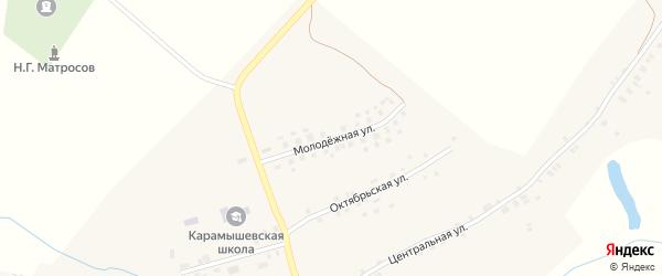 Молодежная улица на карте села Карамышево с номерами домов