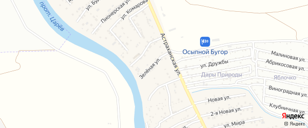 Зеленая улица на карте села Осыпного Бугра с номерами домов