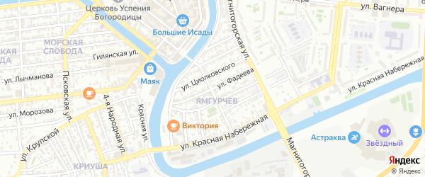 Улица Фадеева на карте Астрахани с номерами домов