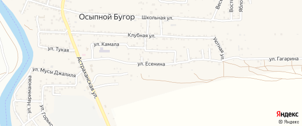 Улица Есенина на карте села Осыпного Бугра с номерами домов