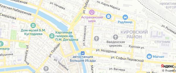 Переулок Герцена на карте Астрахани с номерами домов