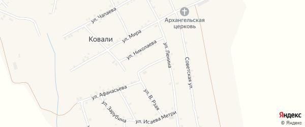 Переулок Фрунзе на карте села Ковали с номерами домов