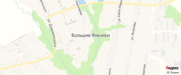Улица Комарова на карте села Большие Яльчики с номерами домов