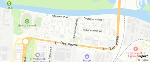 Акварельный переулок на карте Астрахани с номерами домов