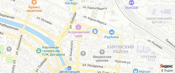 Переулок Рылеева на карте Астрахани с номерами домов