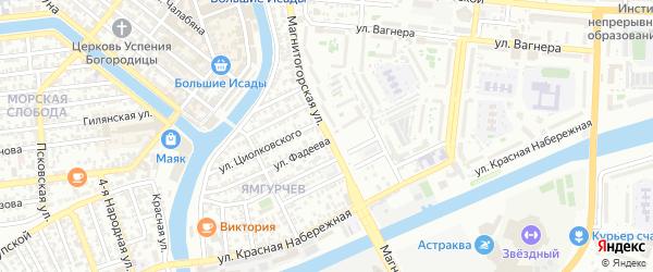 Магнитогорская улица на карте Астрахани с номерами домов