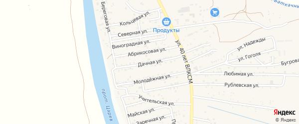 Дачная улица на карте поселка Кирпичного Завода N1 с номерами домов