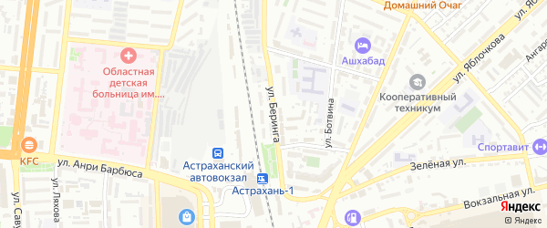 Улица Беринга на карте Астрахани с номерами домов