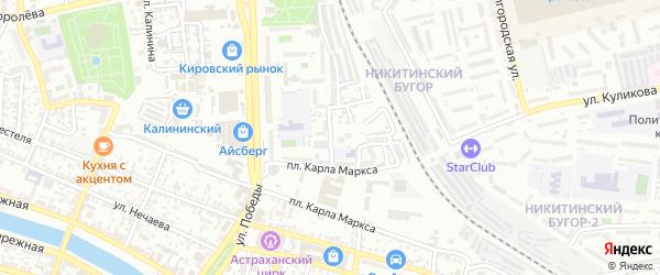 Переулок Пржевальского на карте Астрахани с номерами домов